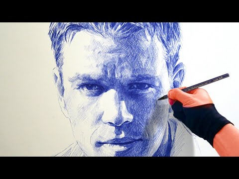 Portrait with BALL POINT PEN - Damon / Bourne - Theportraitart