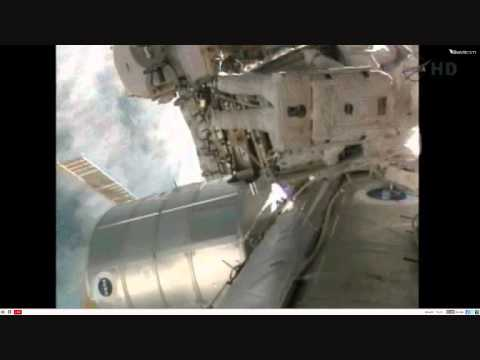 NASA Live Spacewalk on the ISS with discovery docked 2/3/11