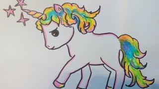 Ein Einhorn (Pony) malen lernen. Kawaii Bilder Tutorial: für Anfänger und Kinder