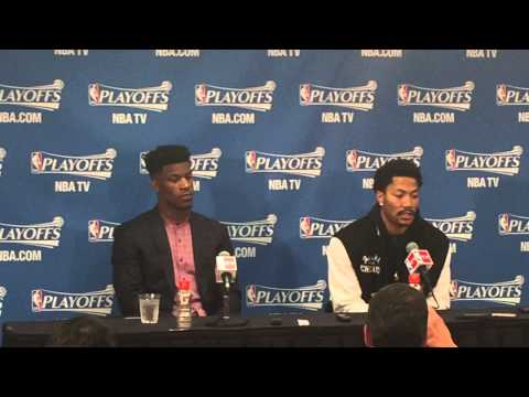Derrick Rose and Jimmy Butler talk after the Bulls defeat the Milwaukee Bucks in Game 1a 103-91