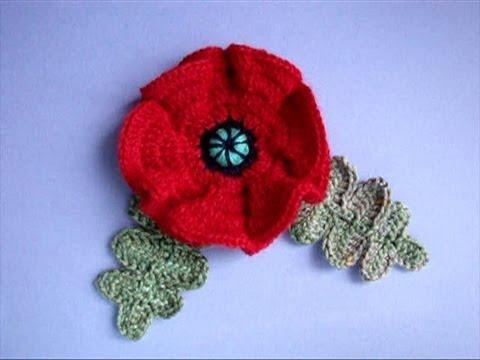... мак Урок20 How to crochet poppy Cómo amapola crochet