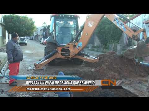 Trabajo de reparación y restitución de conexiones en calles La Rioja y Espino