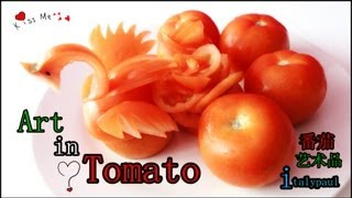 Cooking   Art In Tomato Swan Vegetable Carvings into Swan   Art In Tomato Swan Vegetable Carvings into Swan