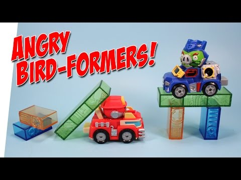 Angry Birds Transformers Jenga Game Soundwave Pig & Heatwave Bird