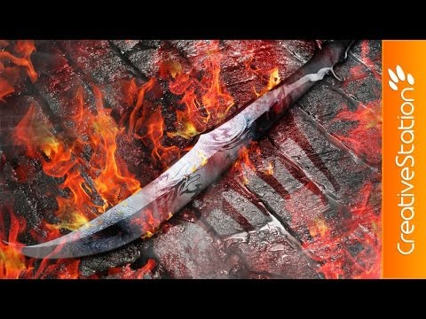 Flaming sword  - 3D Speed art (#Rhino. Photoshop)   CreativeStation