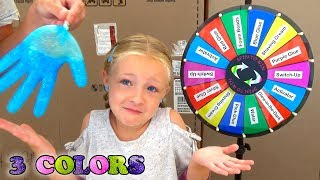 Mystery Wheel of Slime Gloves Challenge! 3 Colors of Glue Switch Up!!!