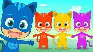 FINGER FAMILY with colorful superhero 🖐 Learn the colors with cat babies | Songs for kids
