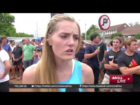 Students protests use of Afrikaans as a teaching language in South Africa