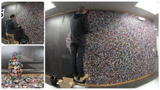 Bottle Cap Wall - 60,000 Bottle Caps on our Wall in 2 minutes