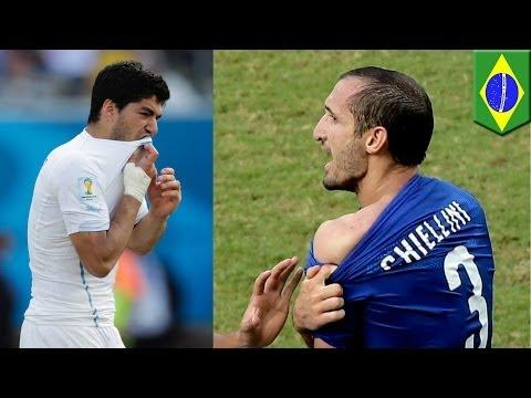 Jaws the revenge? Suarez bites Chiellini as Uruguay knock out Italy