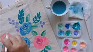 How to Paint Loose Watercolor Florals on Tote Bag