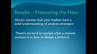 Writing Results - Data Analysis - Discussion