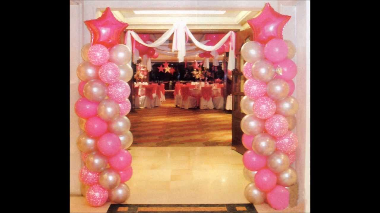 Decoracion con globos para 15 a os youtube for Arreglos de salon con globos