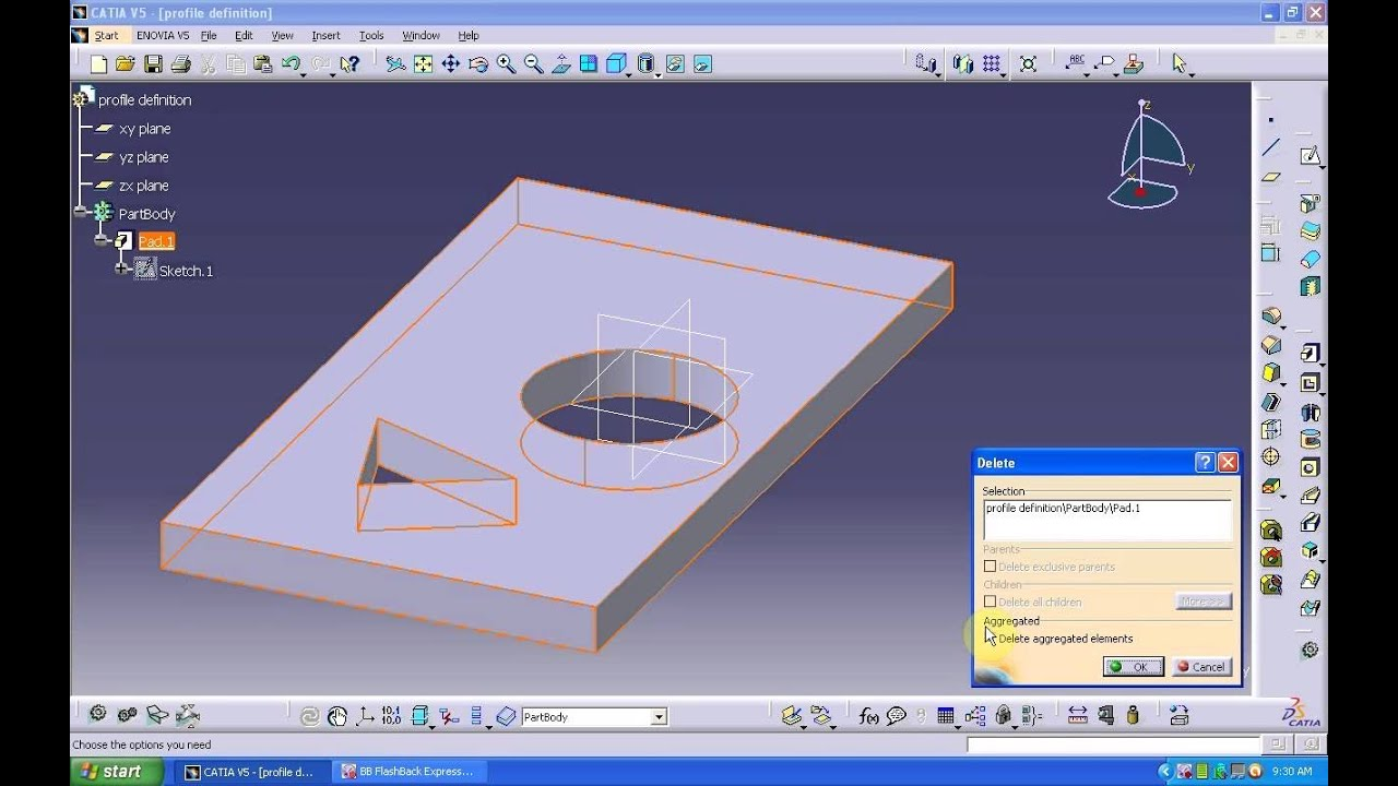 Catia V5 Pad Profile Definition Youtube