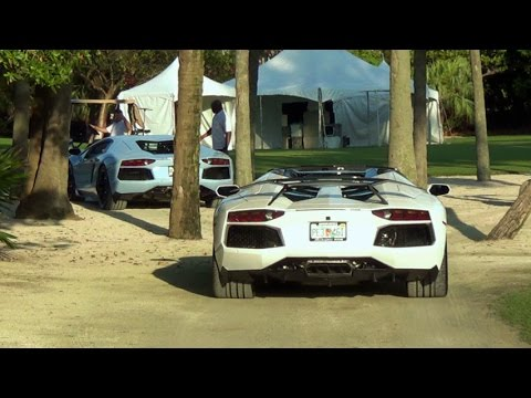 Following 2 Lamborghini Aventador to Miami Beach Concours Supercar Exotic car event