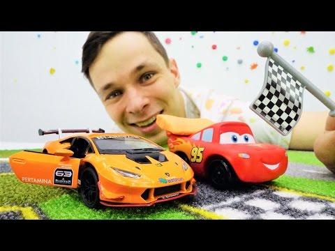 Видео с игрушками: Маквин, тюнинг для гонок! Игры в машинки, мультфильм про игрушки. Тачки.