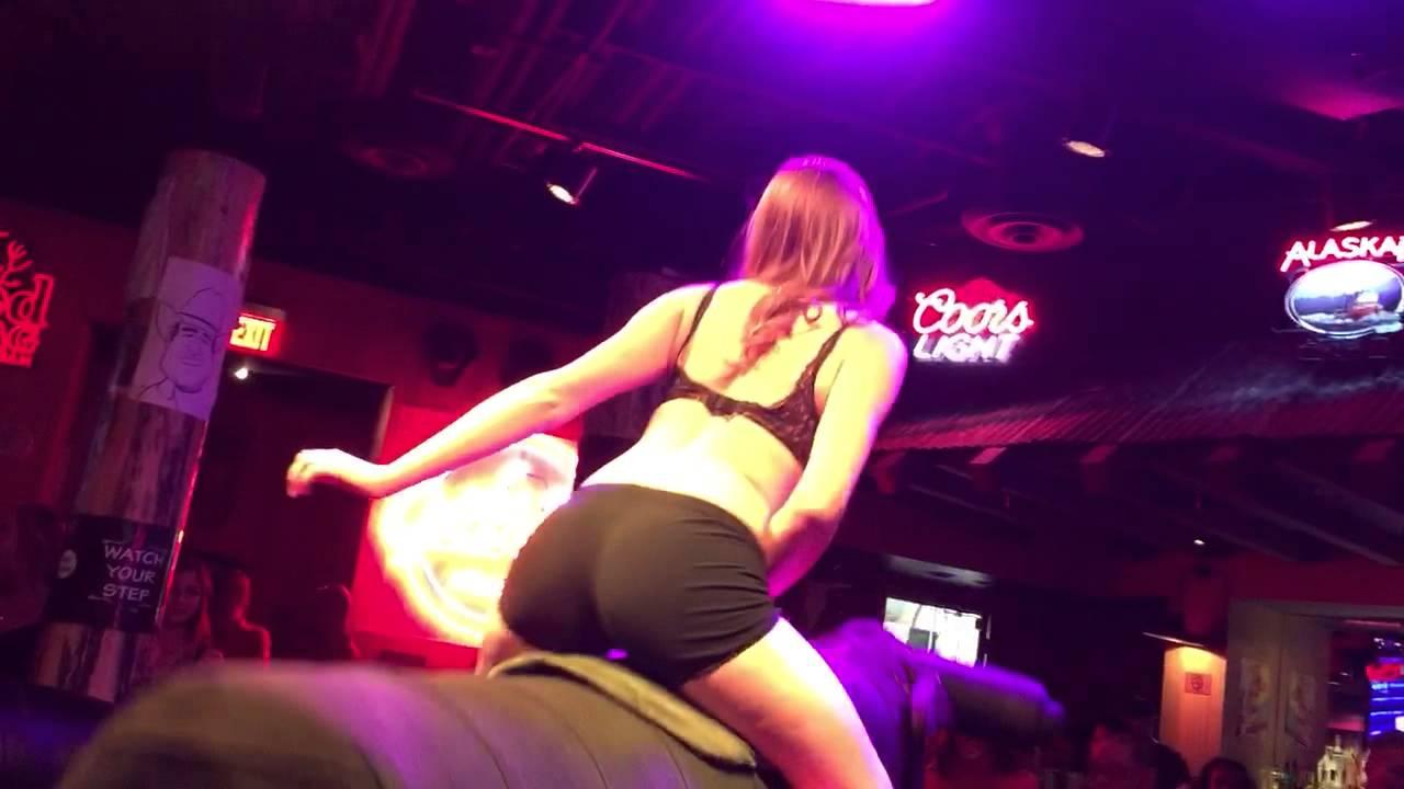 Bikini bull riding big stix
