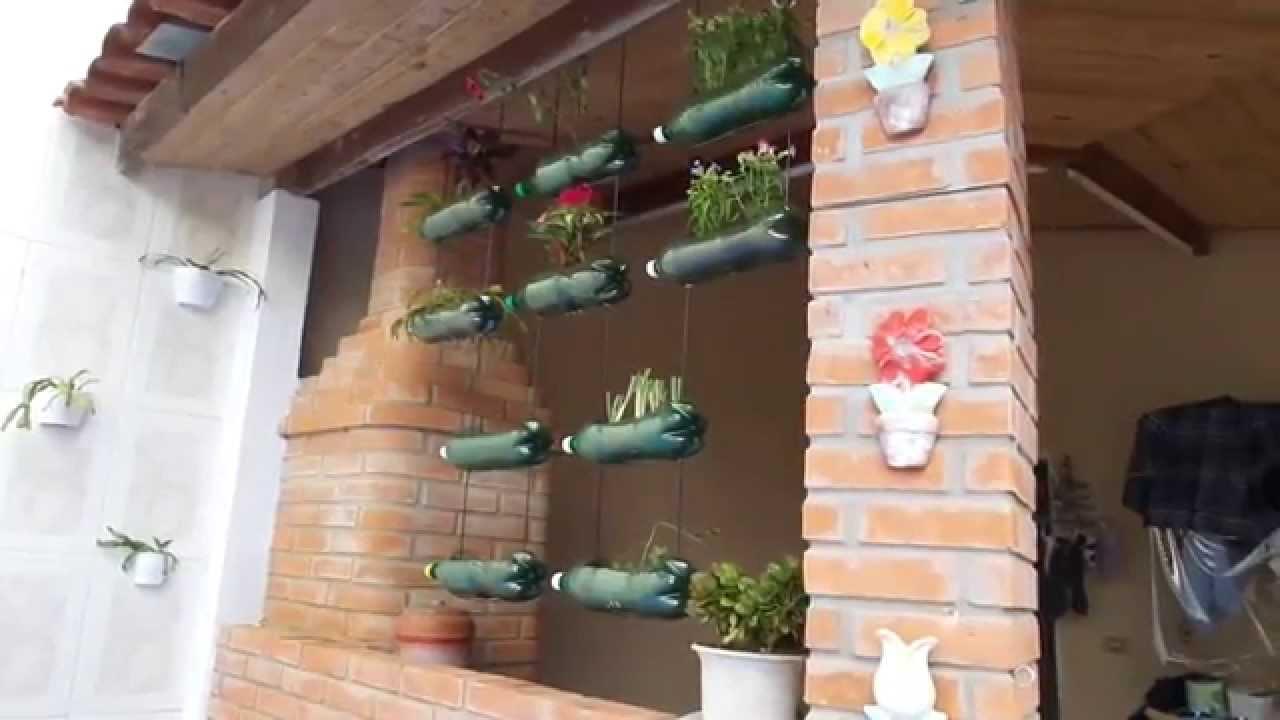 jardim suspenso feito de garrafas pet  parte 2  YouTube