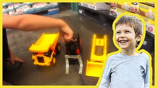 Toy Construction Trucks go Shopping at Costco