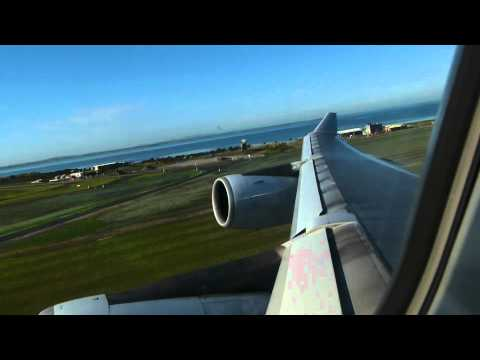 Cathay Pacific Airways A340-300 Take off Auckland - Hong Kong. CX118