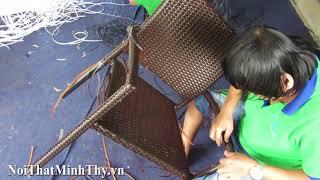 Đan mẫu bàn ghế cafe nhựa giả mây MT236 tại xưởng đan mẫu Minh Thy Furniture