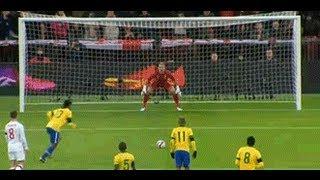 Ronaldinho misses penalty against England (Great save by Joe Hart) 06. 02. 2013. HD