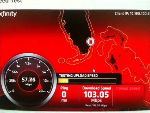 Comcast Xfinity Speed Test on Docsis 3 Modem with 100mbs package business class