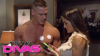 Nikki Bella plays with John Cena's muscle stimulator: Total Divas, December 8, 2013