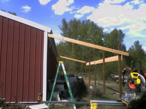 Shed roof in a day youtube for Building onto a house