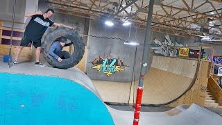 GIANT TIRE VS ENTIRE SKATEPARK!