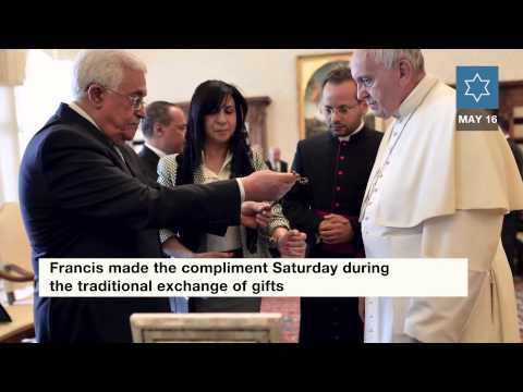 Pope Francis welcomes PA President Mahmoud Abbas 5 16 15