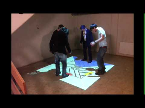 Interactive floor game - kinect and beamer - YouTube