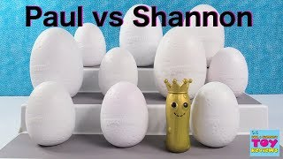 Paul vs Shannon Surprise Eggs Challenge Hatchimals Disney Trolls Toy Opening | PSToyReviews
