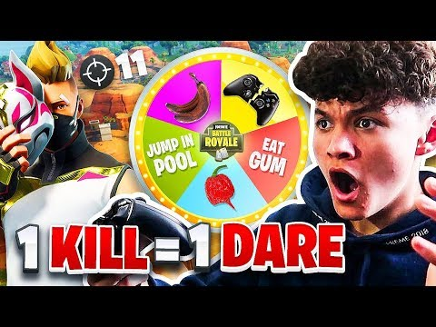 1 KILL = 1 DARE on FORTNITE w/ 15 Year Old Brother (Roulette Battle Royale)