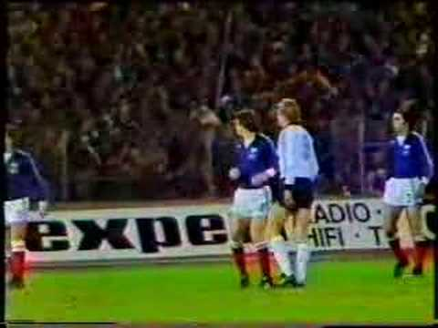 19 November 1980 - European Champions West Germany play France in a friendly game in Hanover (63000). German squad: Schumacher, Immel (goalkeepers) Kaltz, S...