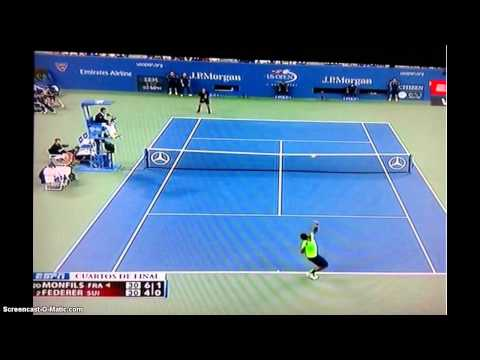 Roger Federer vs Gael Monfils US Open 2014 Federer with Epic Come Back Win Never give up !