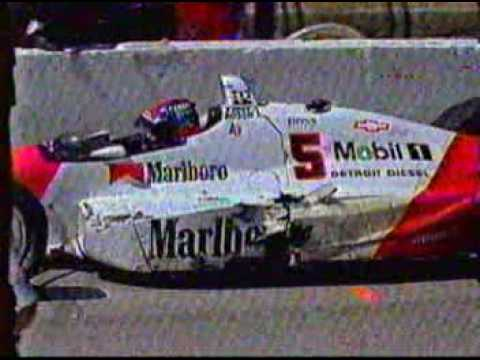 Indycar CART Long Beach 1991 - Michael Andretti and Emerson Fittipaldi crash at pit lane Video