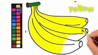 Vẽ và tô màu quả chuối | Học phát âm màu sắc tiếng anh | Draw and color the banana
