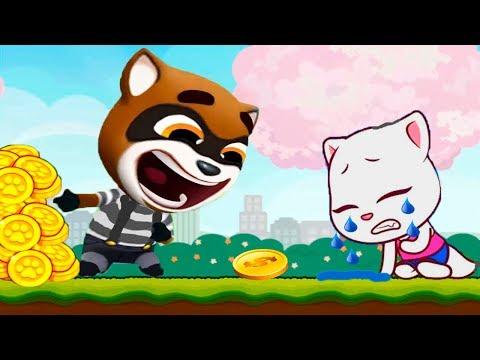 ГОВОРЯЩИЙ ТОМ БЕГ ЗА СЛАДОСТЯМИ #26 ДРУЗЬЯ Анджела Мультфильм! Мультик игра   Talking Tom Candy Run