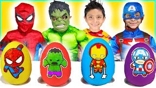 Marvel Avengers Play Doh Surprise Eggs kids video toys superheroes dress up costume runway show