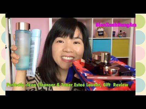 Sửa rửa mặt, nước hoa hồng mới mua- Perfectly clean Cleanser & Toner Esteé Lauder, Gift  Review