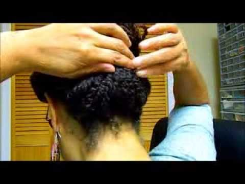 Two strand twist updo using hair sticks - Natural Hair