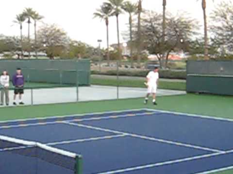 David Ferrer practices with Marat Safin in Indian Wells, California on March 12, 2009 Video
