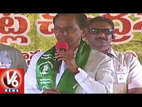 Haritha Haram Mission | CM KCR Speech at Narapally | Hyderabad - V6 News