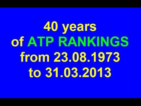 ✖ 40 years of ATP Rankings (from 23.08.1973 to 31.03.2013) ✖