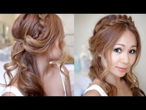 Half Updo with Braids and Soft Curls