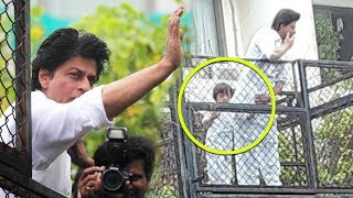 Shah Rukh Khan And AbRam Together Celebrate EID At Mannat With Fans