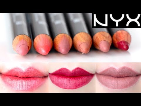 NYX Lip Liner Pencil 6 colors Swatches on Lips