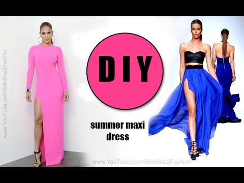 DIY Summer Maxi Dress w/slit