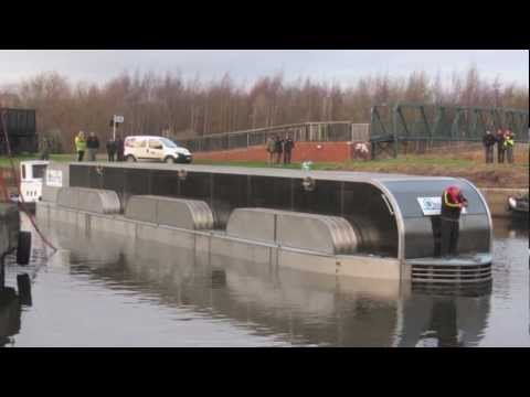 The Hydrokinetic OblinArk Green Power Barge Launch in Leeds 8th Dec 2012